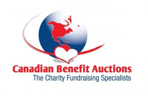 Logo of Canadian Benefit Auctions. Logo is a blue globe with a red outline of North America, and a heart.