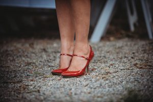 red strap stilettos at SoR 2017