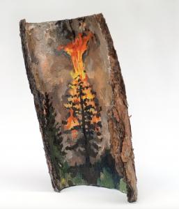 "Liz Toohey-Wiese FIRE ADAPTED II Acrylic on Ponderosa Pine Bark 24"" x 24"" x 24"""